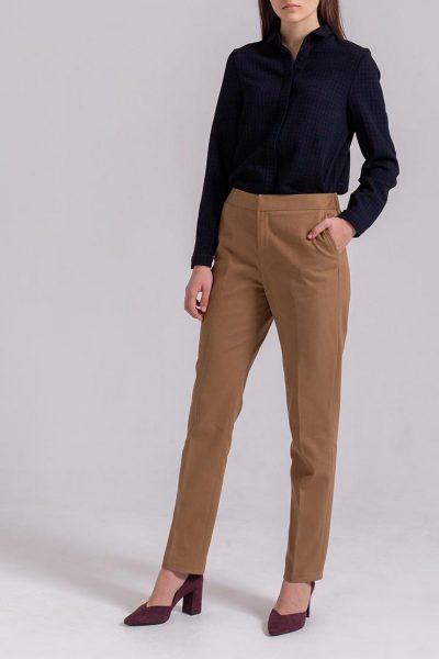 Зауженные брюки из хлопка PPMT_PM-36_beige, фото 5 - в интеренет магазине KAPSULA