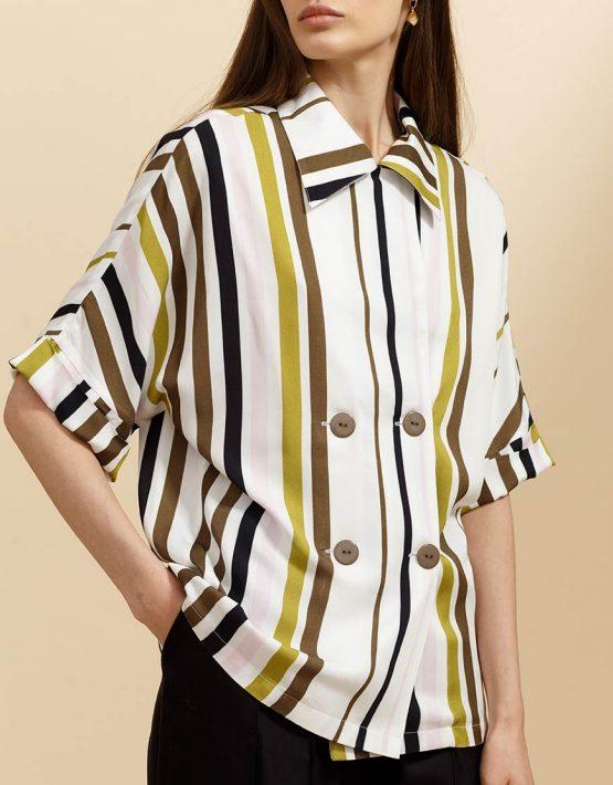 Двубортная блуза в принт INS_SS19_03_02, фото 5 - в интеренет магазине KAPSULA