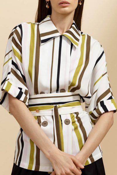 Двубортная блуза в принт INS_SS19_03_02, фото 1 - в интеренет магазине KAPSULA