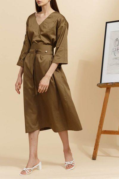 Платье свободного кроя с поясом INS_SS19_04_02, фото 1 - в интеренет магазине KAPSULA