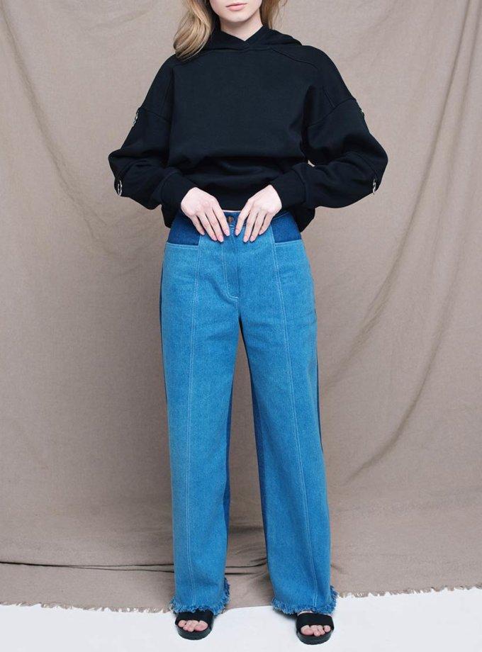 Широкие джинсы на высокой посадке CYAN_TR_L01, фото 1 - в интернет магазине KAPSULA