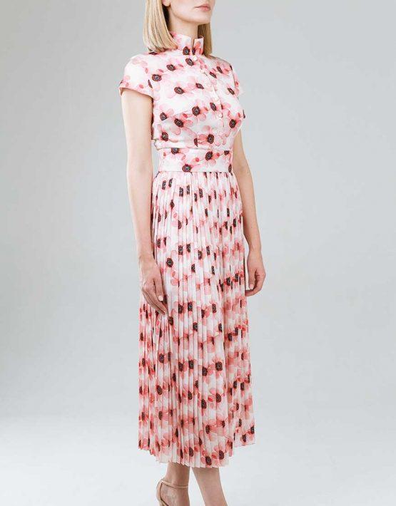 Платье плиссе приталенного силуэта SOL_SSS2019D08_outlet, фото 3 - в интеренет магазине KAPSULA