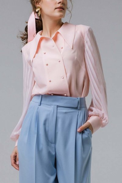 Блуза свободного кроя с кокеткой MNTK_MTBLSM1912, фото 1 - в интеренет магазине KAPSULA