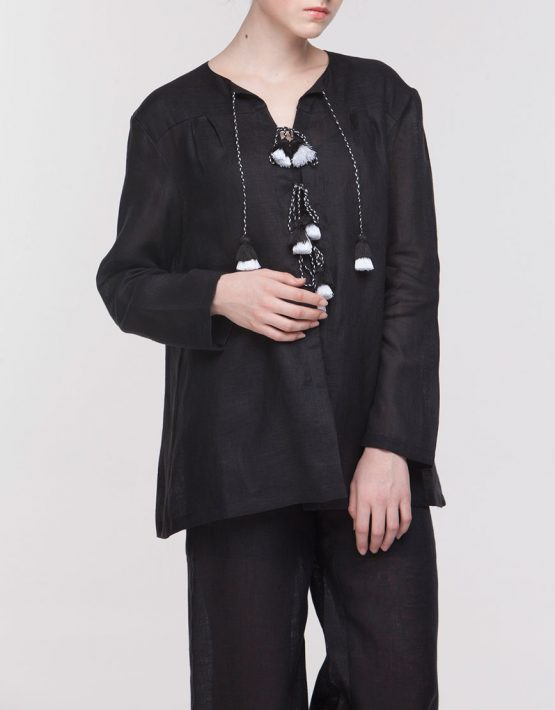 Льняной костюм для сна FOBERI_NS0006, фото 4 - в интеренет магазине KAPSULA