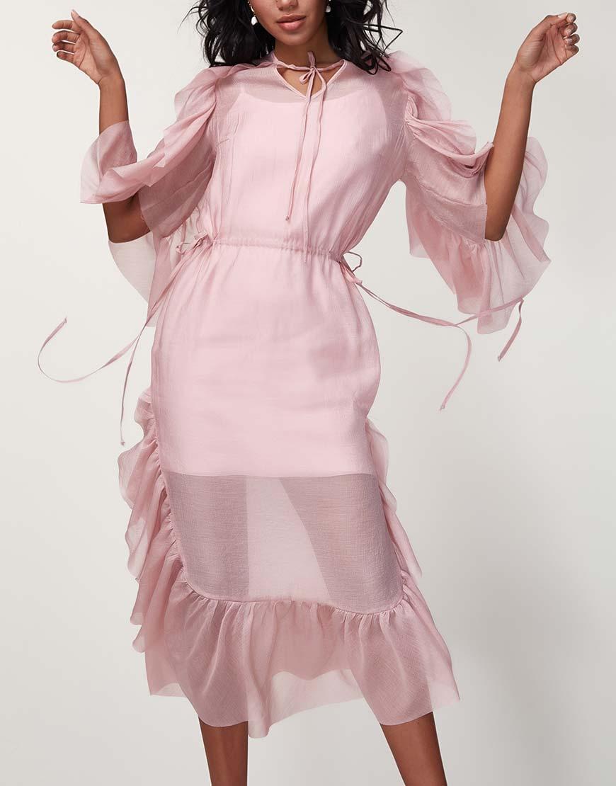 Двухслойное платье с оборками