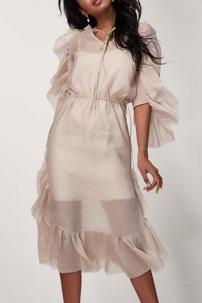 Двухслойное платье с оборками CVR_SS201910, фото 1 - в интеренет магазине KAPSULA