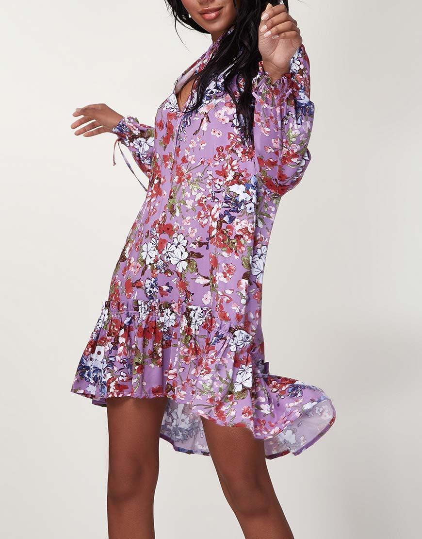 Легкое платье мини с рюшами