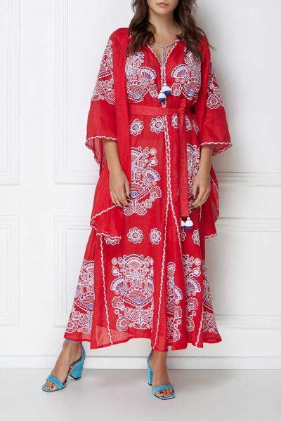 Платье-вышиванка с широкими рукавами FOBERI_ss19002, фото 1 - в интеренет магазине KAPSULA