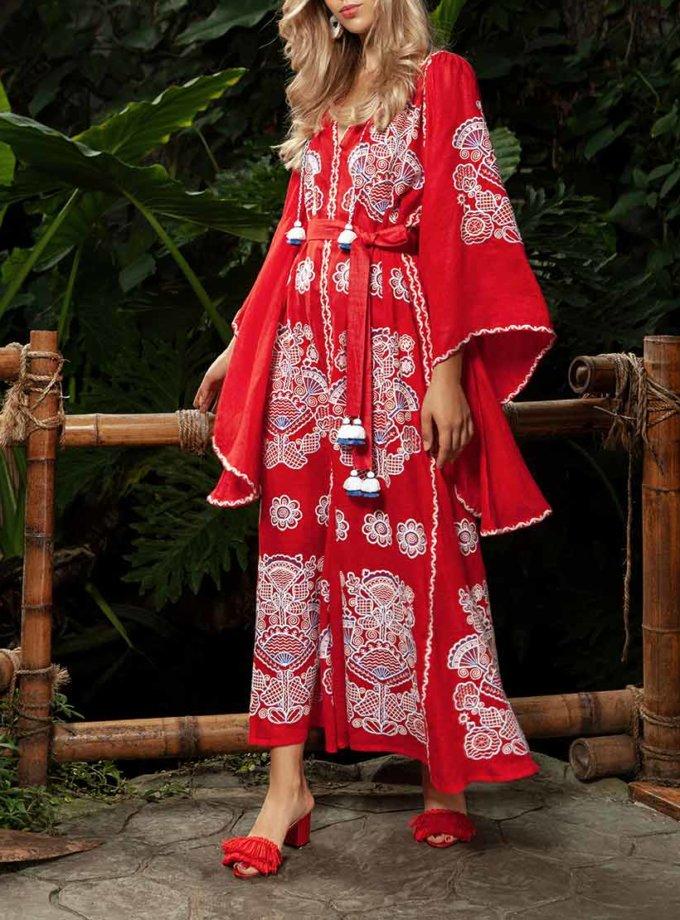 Платье-вышиванка с широкими рукавами FOBERI_ss19002, фото 1 - в интернет магазине KAPSULA