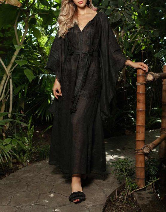 Платье-вышиванка с широкими рукавами FOBERI_ss19005, фото 2 - в интеренет магазине KAPSULA