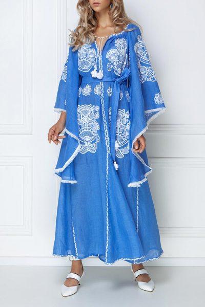 Платье-вышиванка с широкими рукавами FOBERI_ss19006, фото 4 - в интеренет магазине KAPSULA
