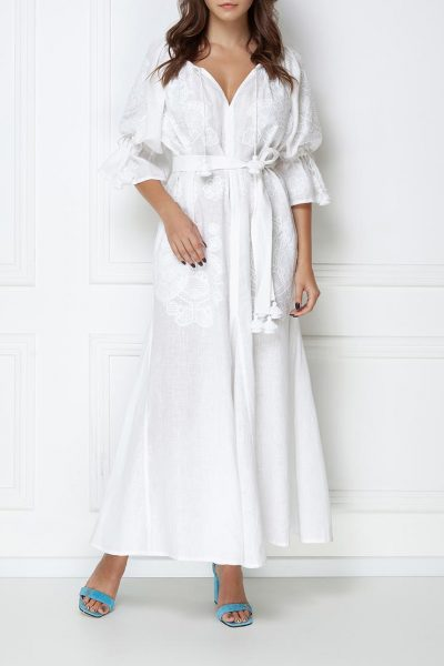 Платье-вышиванка макси FOBERI_ss19007, фото 9 - в интеренет магазине KAPSULA