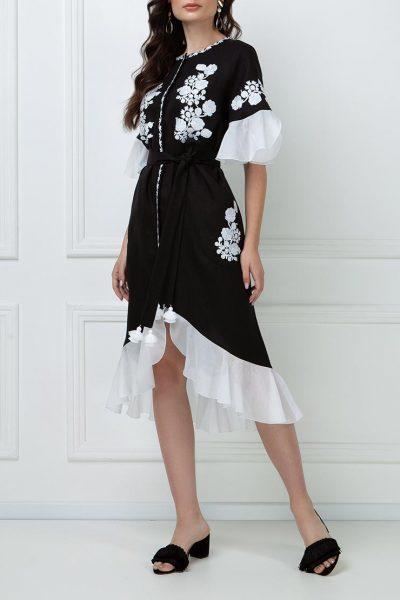 Льняное платье с шелковыми рюшами FOBERI_ss19044, фото 8 - в интеренет магазине KAPSULA