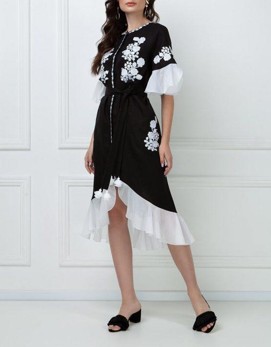Льняное платье с шелковыми рюшами FOBERI_ss19044, фото 1 - в интеренет магазине KAPSULA