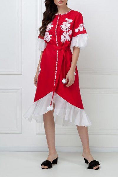 Льняное платье с шелковыми рюшами FOBERI_ss19045, фото 1 - в интеренет магазине KAPSULA