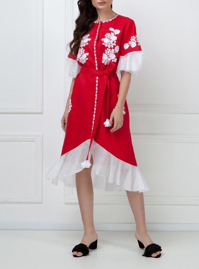Льняное платье с шелковыми рюшами FOBERI_ss19045, фото 1 - в интернет магазине KAPSULA