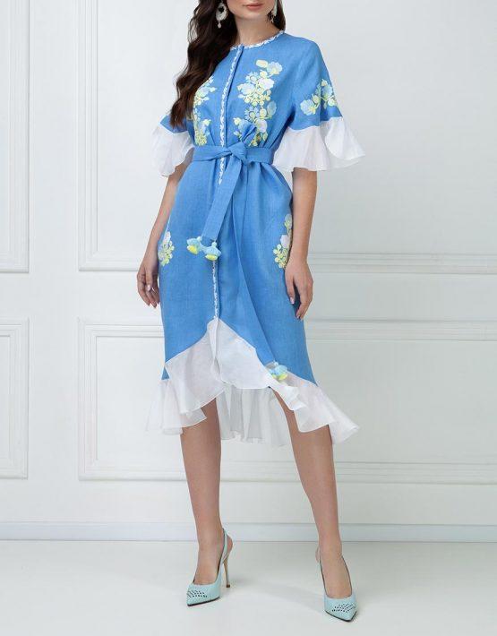Льняное платье с шелковыми рюшами FOBERI_ss19046, фото 1 - в интеренет магазине KAPSULA