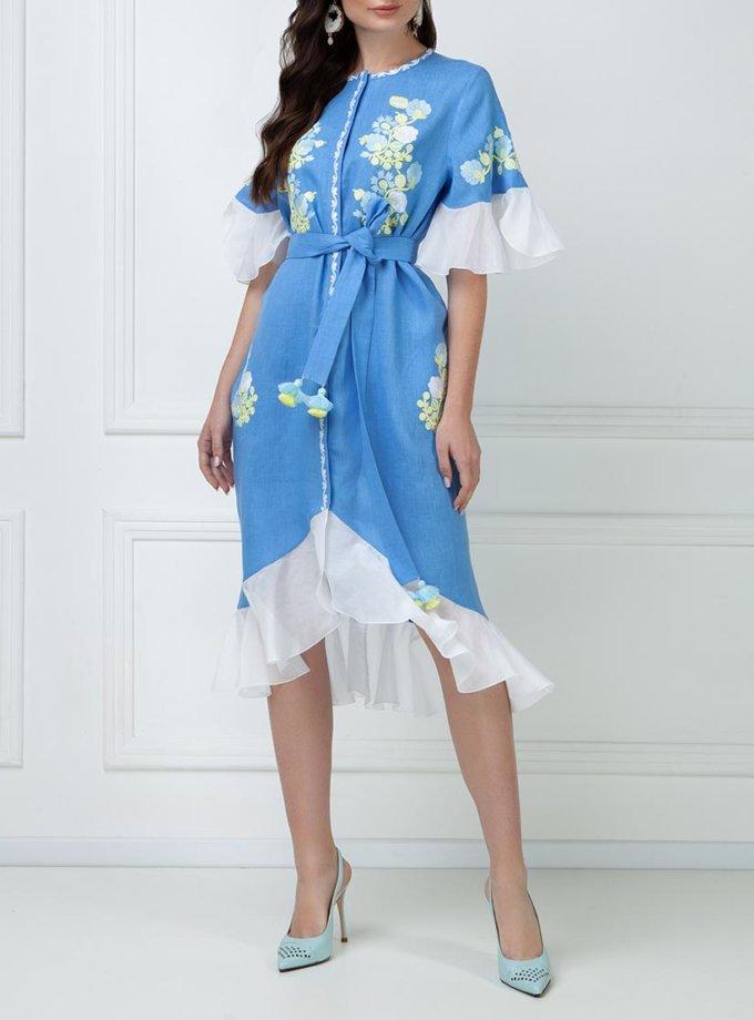 Льняное платье с шелковыми рюшами FOBERI_ss19046, фото 1 - в интернет магазине KAPSULA