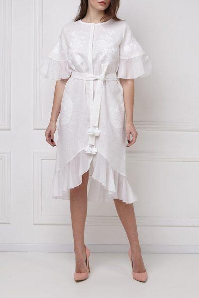 Льняное платье с шелковыми рюшами FOBERI_ss19047, фото 1 - в интеренет магазине KAPSULA