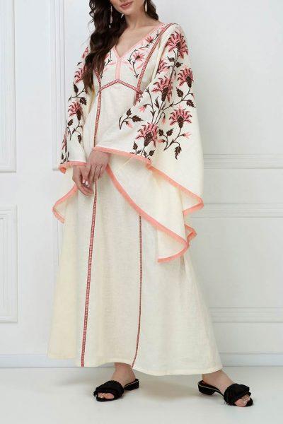 Вышитое платье макси из льна FOBERI_ss19050, фото 7 - в интеренет магазине KAPSULA