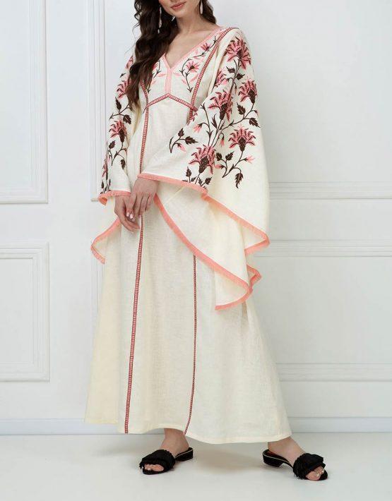 Вышитое платье макси из льна FOBERI_ss19050, фото 1 - в интеренет магазине KAPSULA