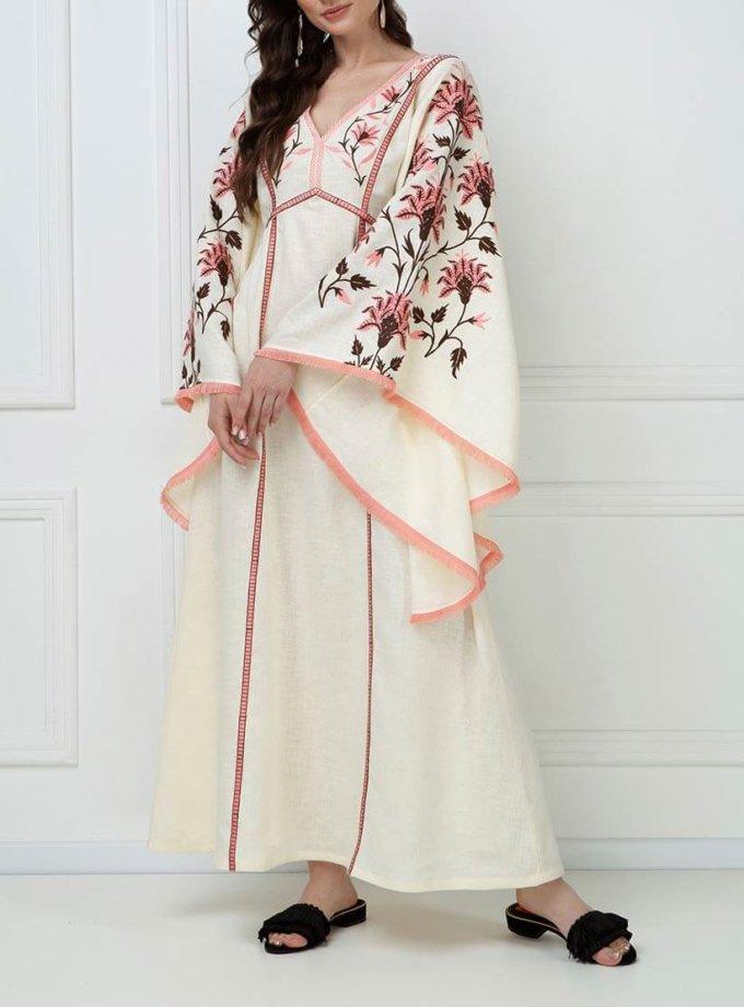 Вышитое платье макси из льна FOBERI_ss19050, фото 1 - в интернет магазине KAPSULA