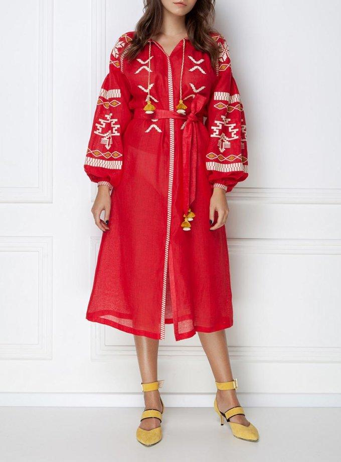 Вышитое платье миди из льна FOBERI_ss19056, фото 1 - в интеренет магазине KAPSULA