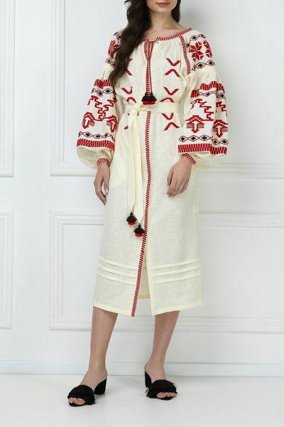 Платье-вышиванка из льна FOBERI_ss19057, фото 1 - в интеренет магазине KAPSULA