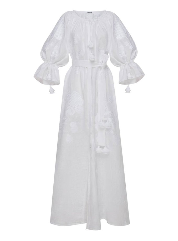 Вышитое платье макси из льна FOBERI_ss19070, фото 1 - в интернет магазине KAPSULA