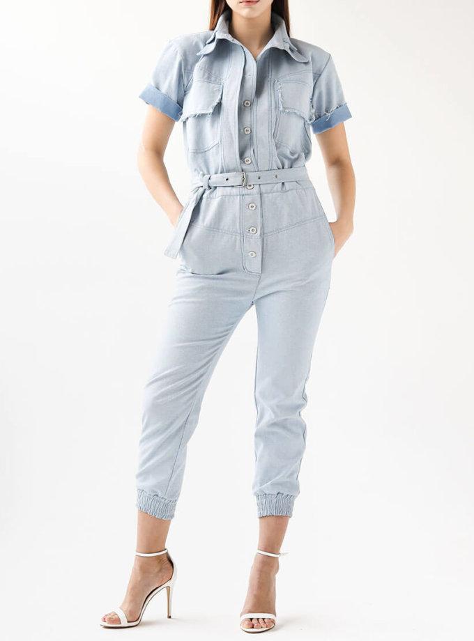 джинсовый комбинезон с поясом XM_xm_denim2, фото 1 - в интеренет магазине KAPSULA