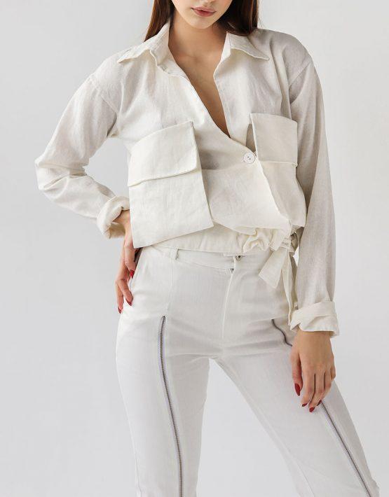 льняная рубашка с накладными карманами XM_xm_denim8, фото 4 - в интеренет магазине KAPSULA