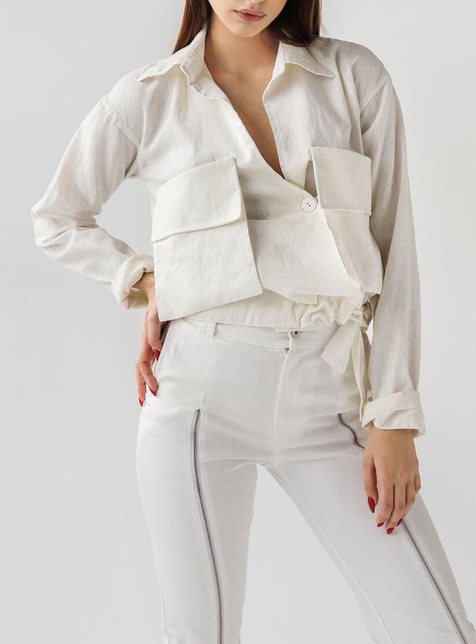 льняная рубашка с накладными карманами XM_xm_denim8, фото 1 - в интернет магазине KAPSULA