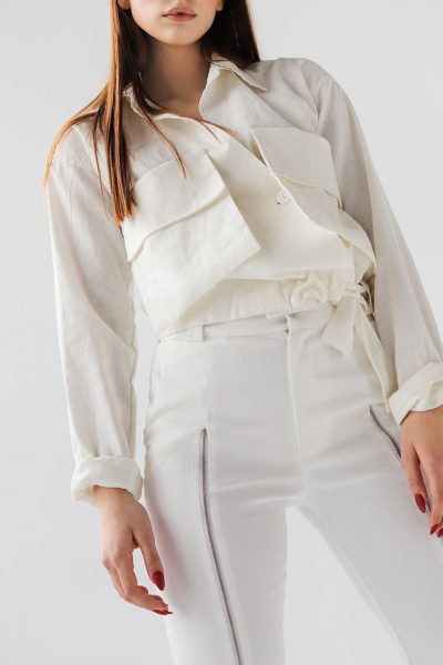 льняная рубашка с накладными карманами XM_xm_denim8, фото 1 - в интеренет магазине KAPSULA