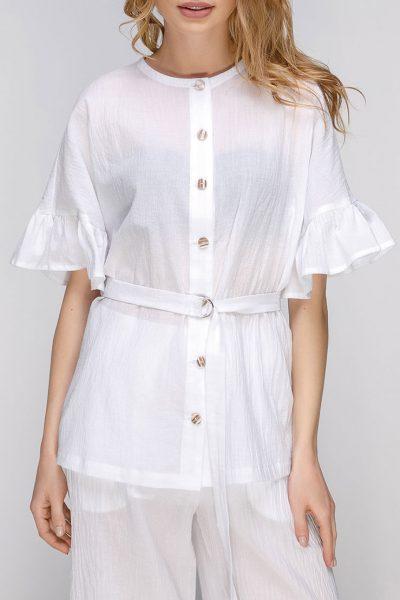 Полупрозрачная блуза с поясом AY_2661, фото 4 - в интеренет магазине KAPSULA