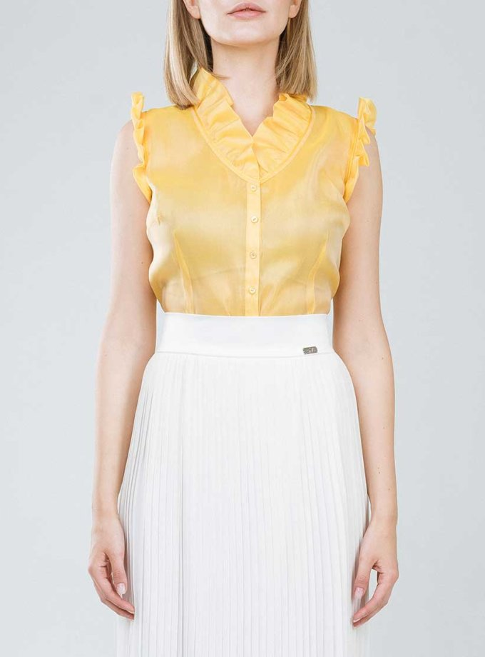шелковая блуза с рюшами SOL_SSS2019B09, фото 1 - в интернет магазине KAPSULA