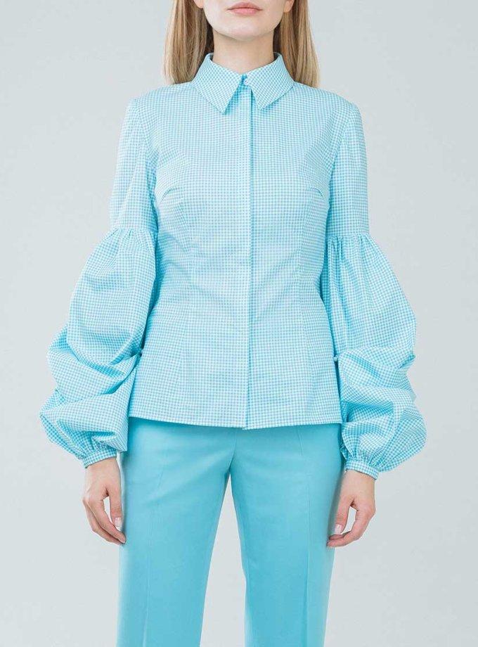 Приталенная рубашка с объемными рукавами SOL_SSS2019SH08_outlet, фото 1 - в интернет магазине KAPSULA