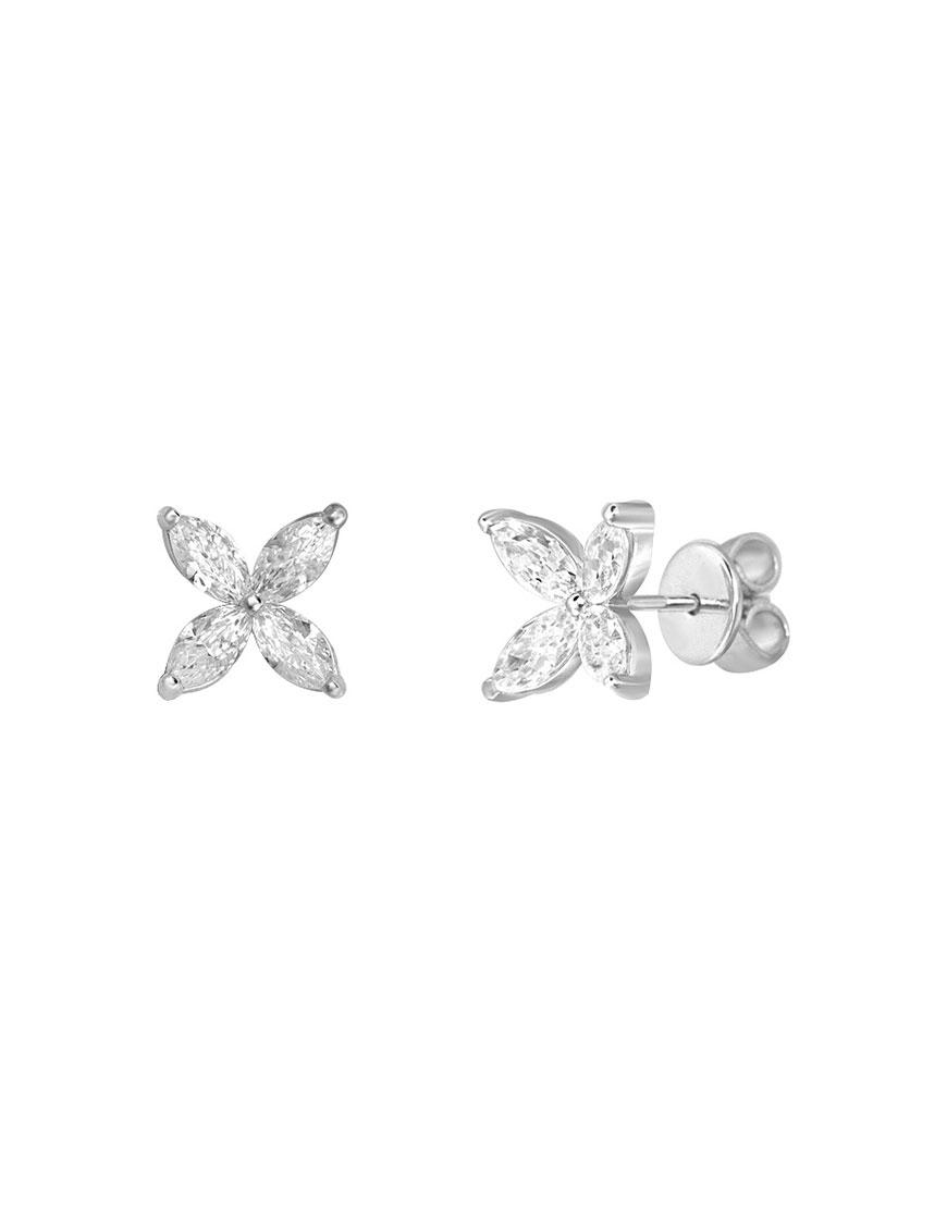 Серебряные серьги с цирконием Flower