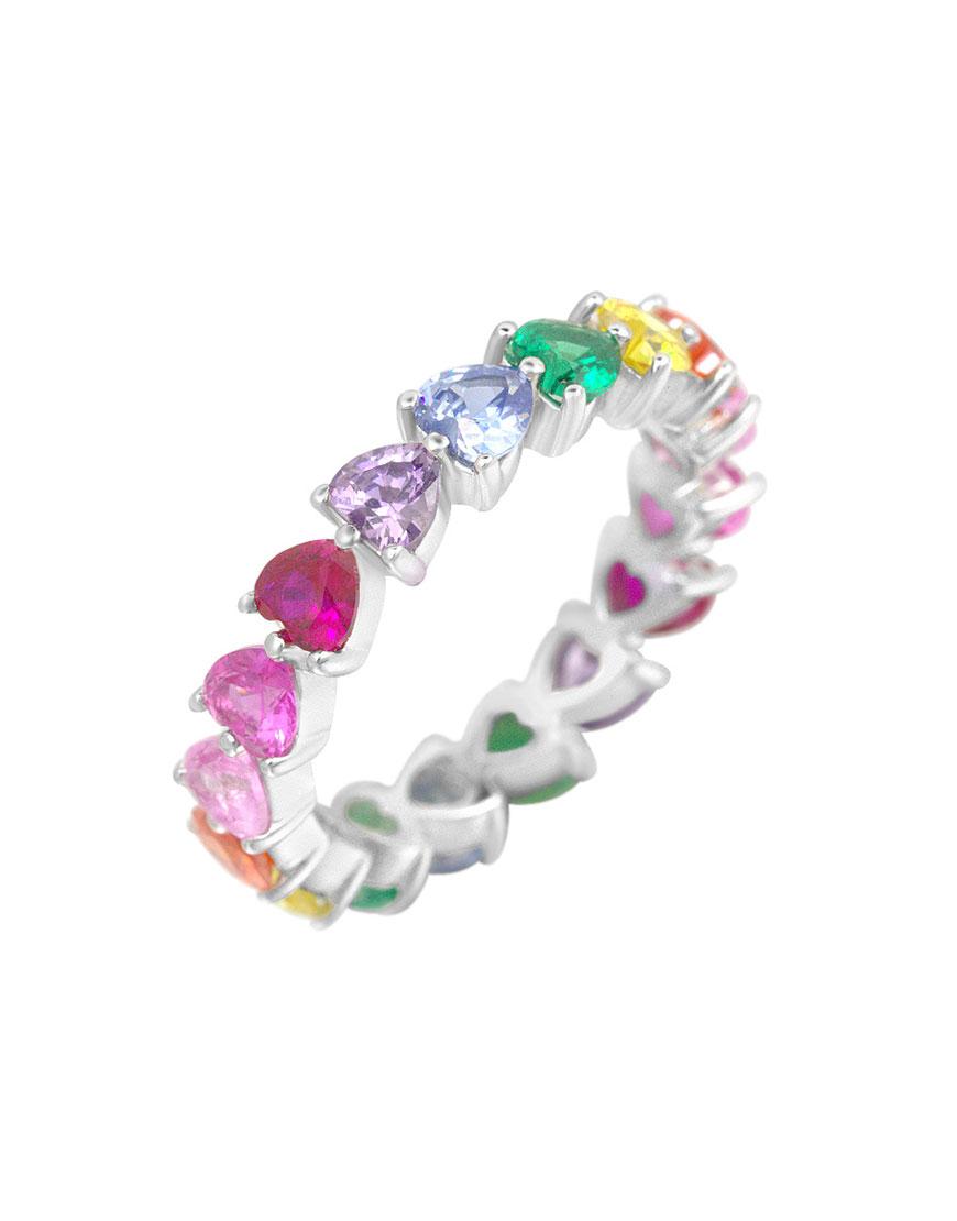 Серебряное кольцо Rainbow Heart Pattern