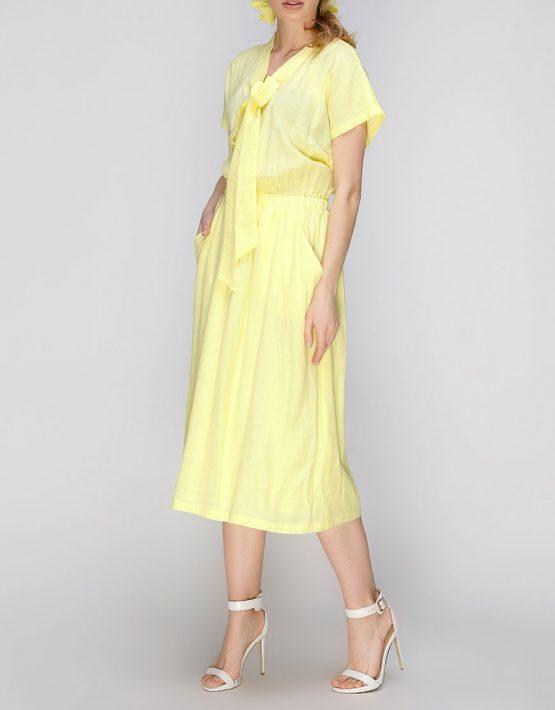 платье миди с поясом на резинке AY_2637, фото 3 - в интеренет магазине KAPSULA
