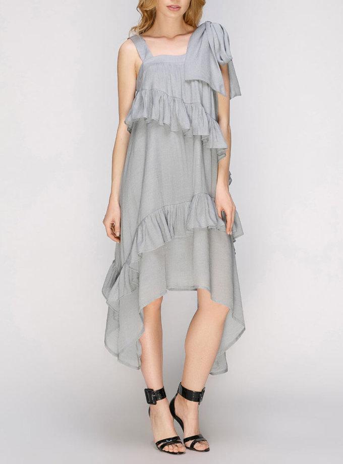 Платье с асимметричной юбкой и рюшами AY_2665, фото 1 - в интеренет магазине KAPSULA