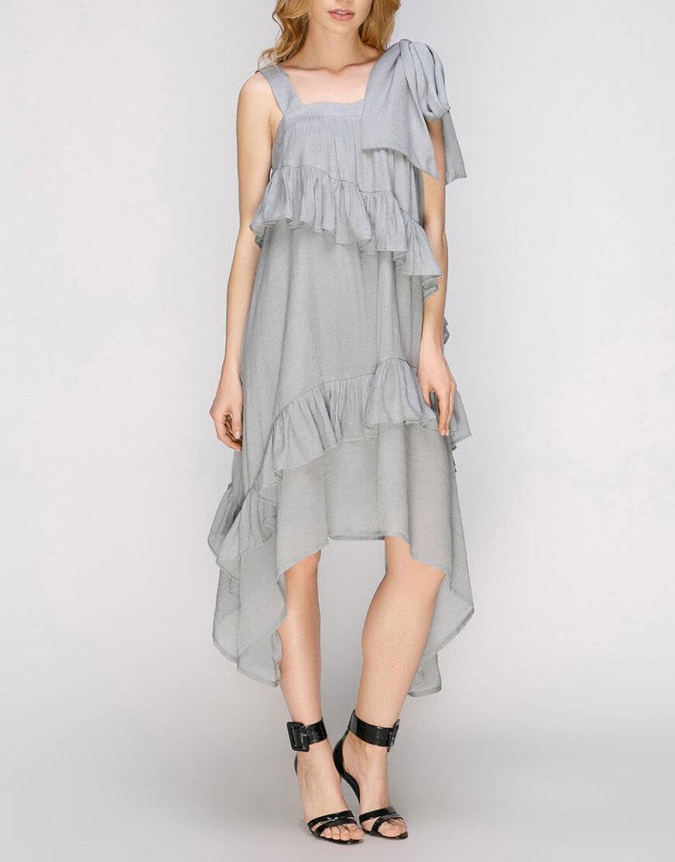 Платье с асимметричной юбкой и рюшами AY_2665, фото 1 - в интернет магазине KAPSULA