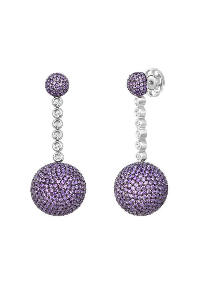 Серьги из серебра с вставками из циркония Dana NTKN_TKE0011W_violet, фото 1 - в интеренет магазине KAPSULA