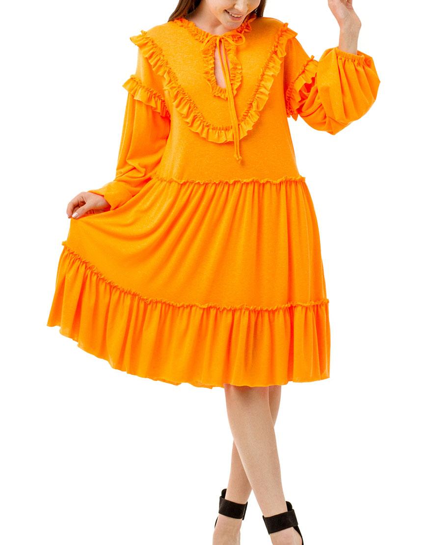 Хлопковое платье с рюшами