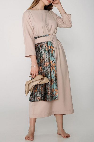 Двухстороннее платье с вставкой плиссе и поясом WNDR_ss19_ddr01, фото 1 - в интеренет магазине KAPSULA