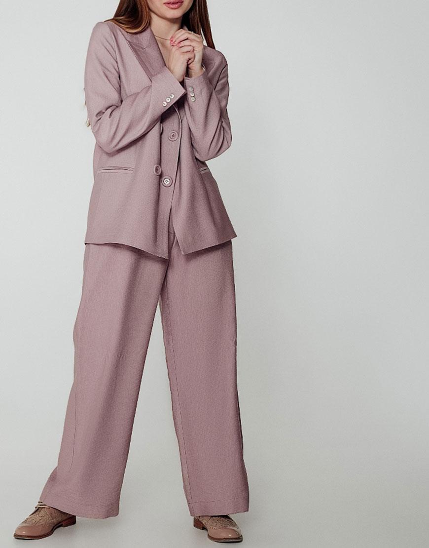 Костюм с широкими брюками из льна