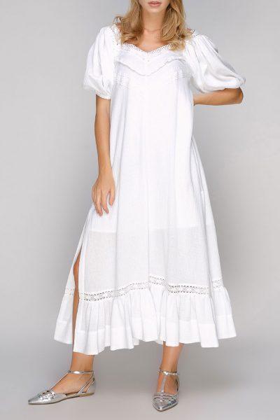 Хлопковое платье с кружевом и разрезами AY-2694, фото 1 - в интеренет магазине KAPSULA