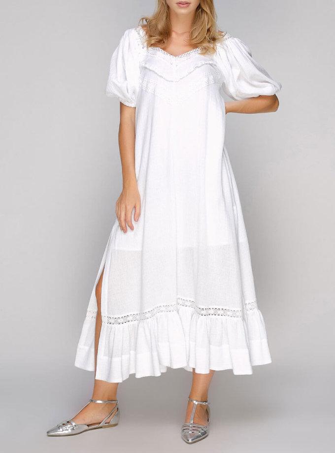Хлопковое платье с кружевом и разрезами AY-2694, фото 1 - в интернет магазине KAPSULA