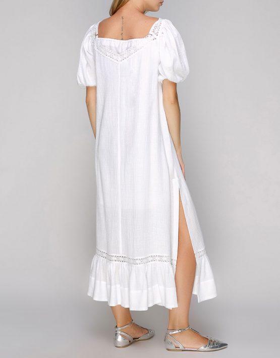 Хлопковое платье с кружевом и разрезами AY-2694, фото 3 - в интеренет магазине KAPSULA
