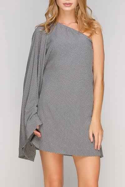 Платье мини с одним рукавом AY-2702, фото 1 - в интеренет магазине KAPSULA