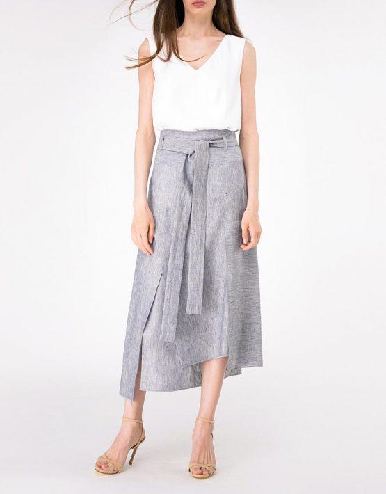 Льняная юбка с асимметричным низом SHKO-18028001, фото 1 - в интеренет магазине KAPSULA